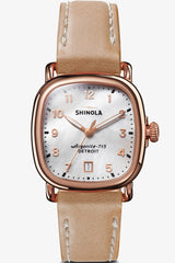 Shinola Guardian 36mm Watch in Mother of Pearl/Natural - Vert & Vogue