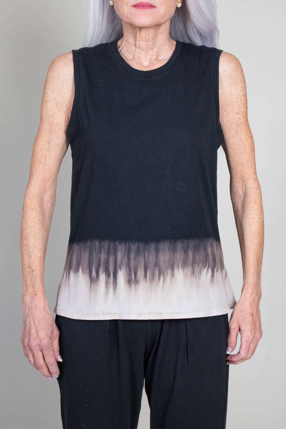 Fitted Muscle in Black Horizon Tie Dye