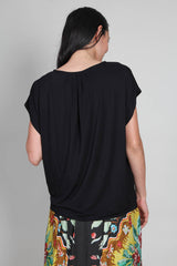 Soft Touch Semi Relaxed S/S Crew in Noir