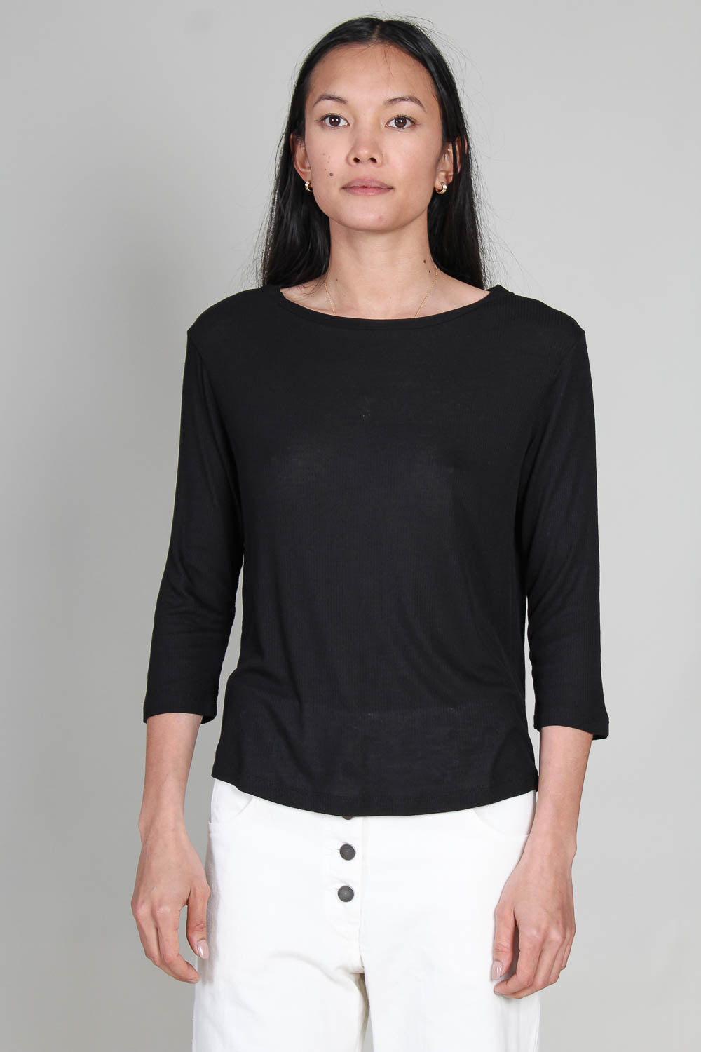 Soft Touch Stripe Rib Semi Relaxed 3/4 Sleeve Boatneck in Noir