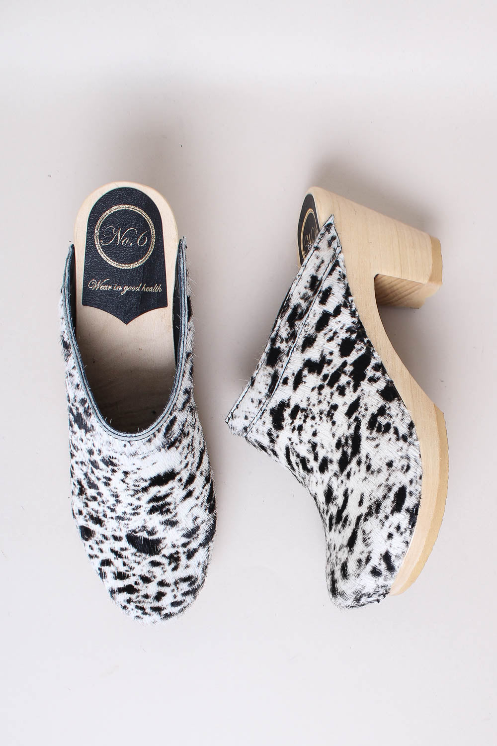 Old School Clog on High Heel in Spotted Black/White Pony