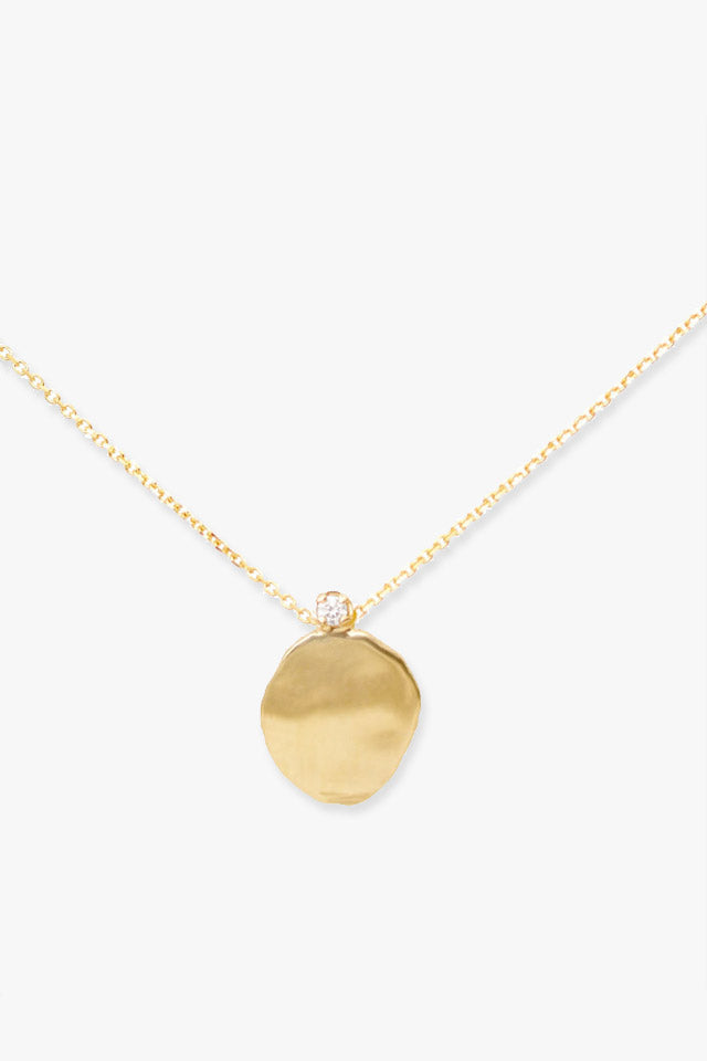 "Large Disc Diamond 16"" Necklace in Gold"