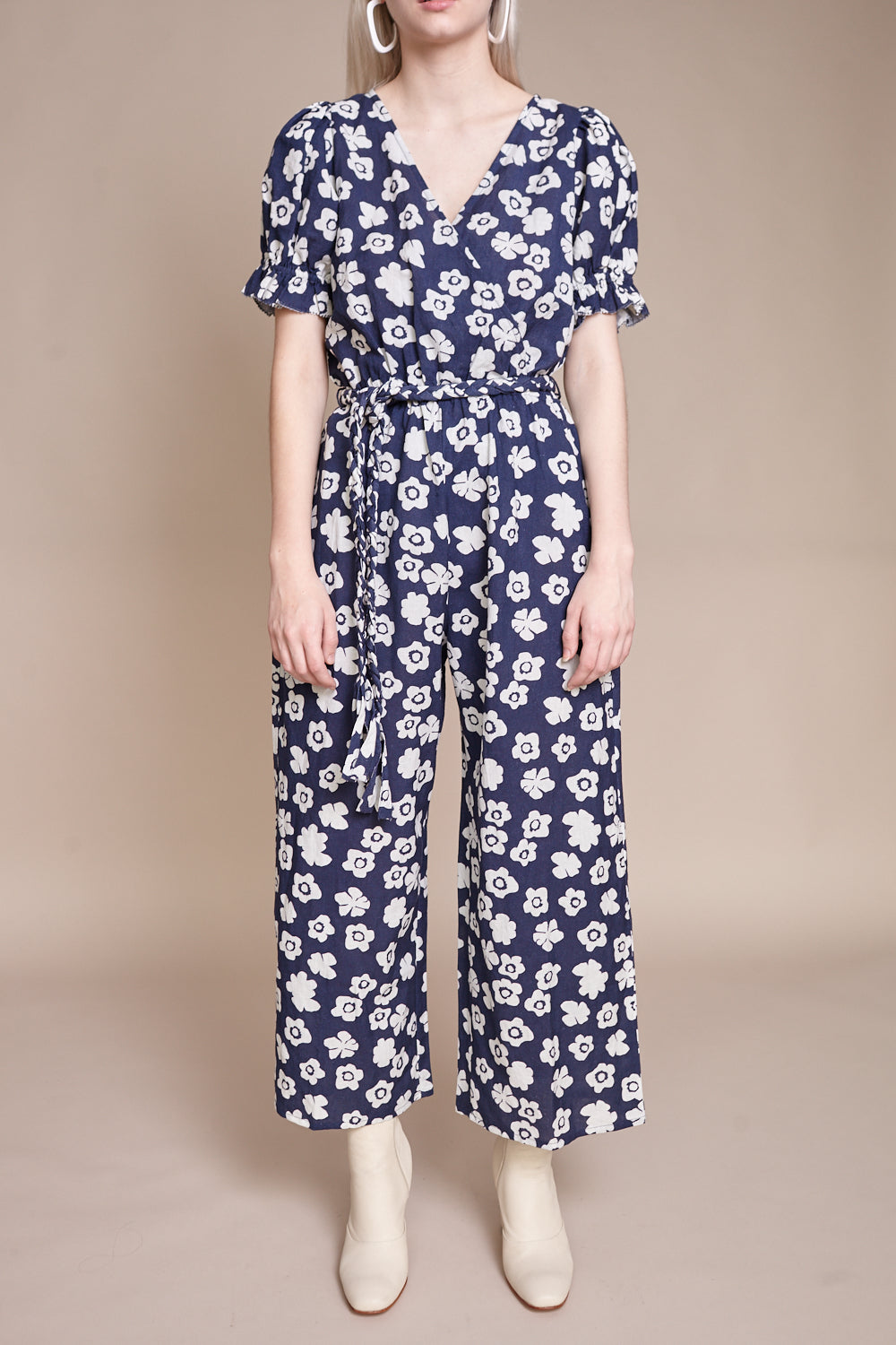 Apiece Apart Charbol Jumpsuit in Bold Flores Navy - Vert & Vogue