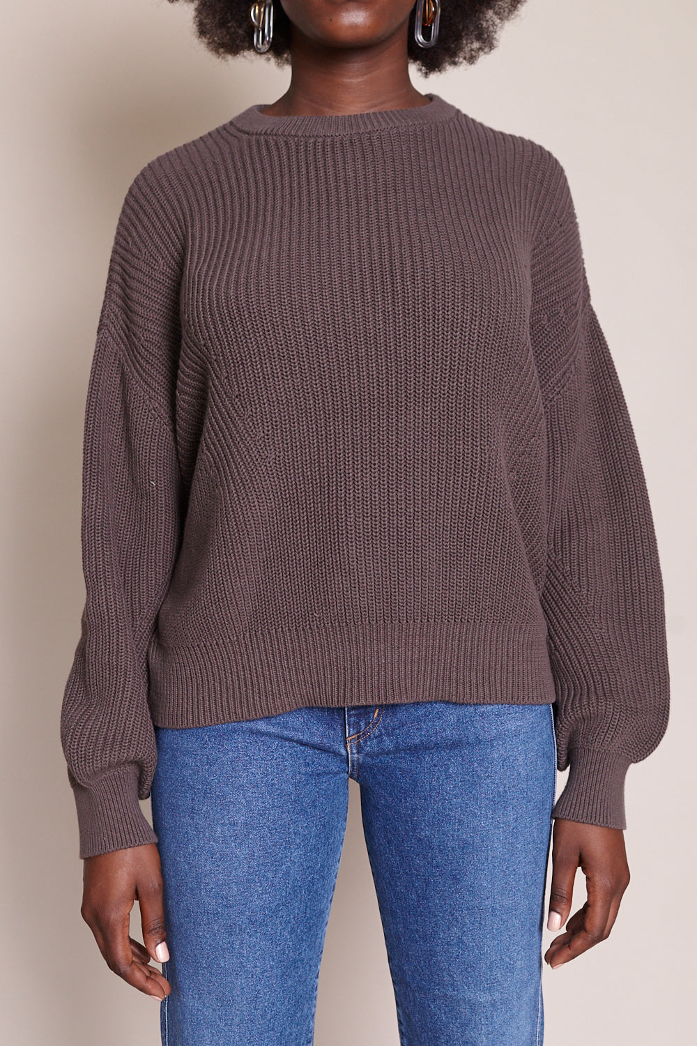 Poet Sleeves Cotton Sweater in Gray