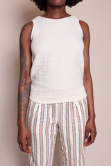 Triple Gauze Sleeveless Pullover in Ecru