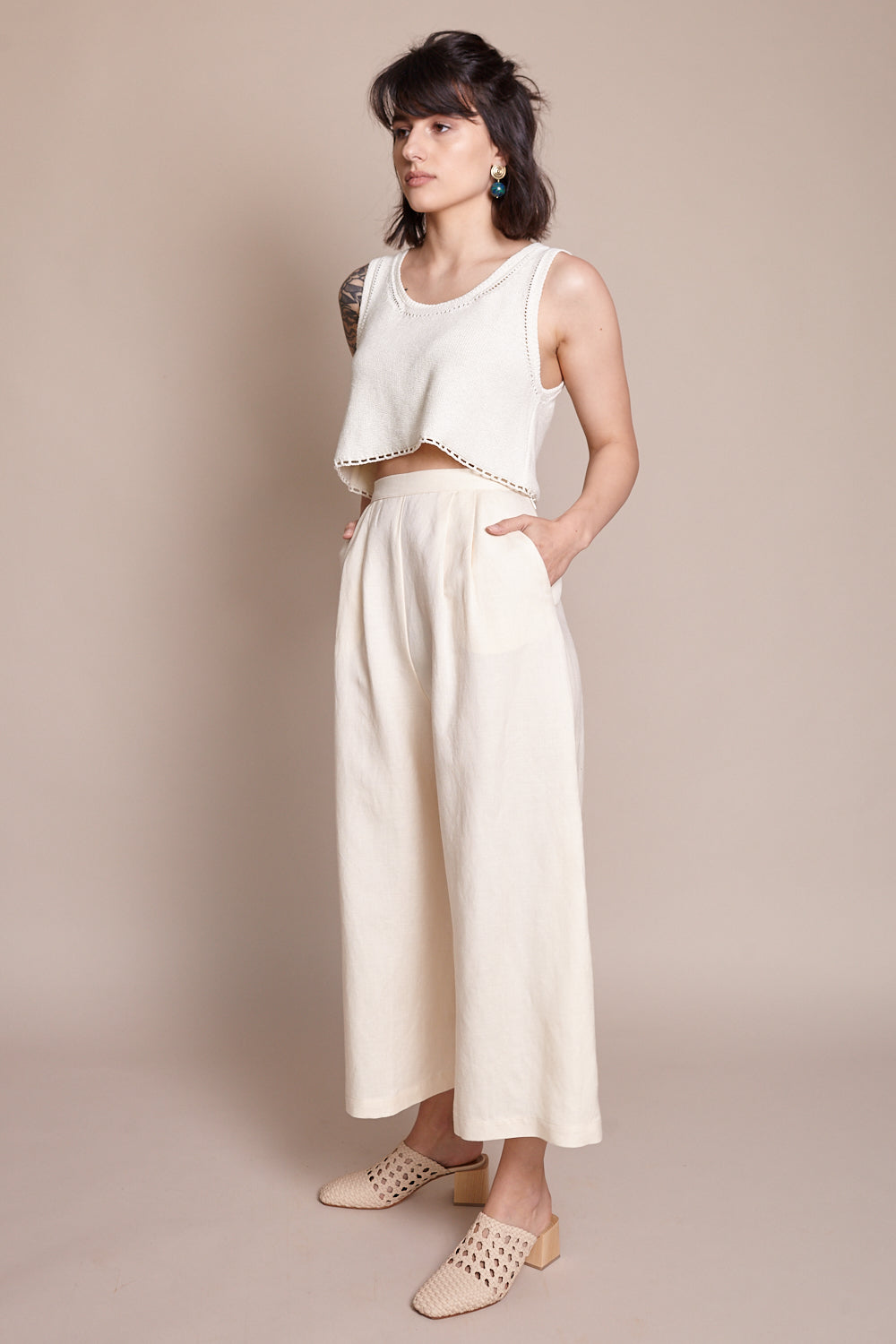 First Rite Crop Culotte in Bone - Vert & Vogue