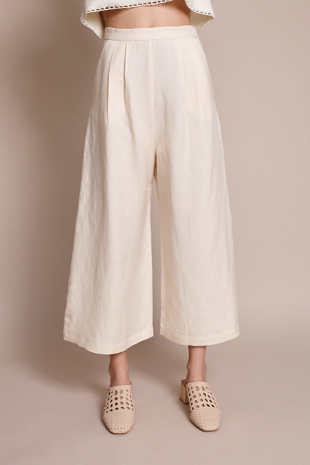 Crop Culotte in Bone