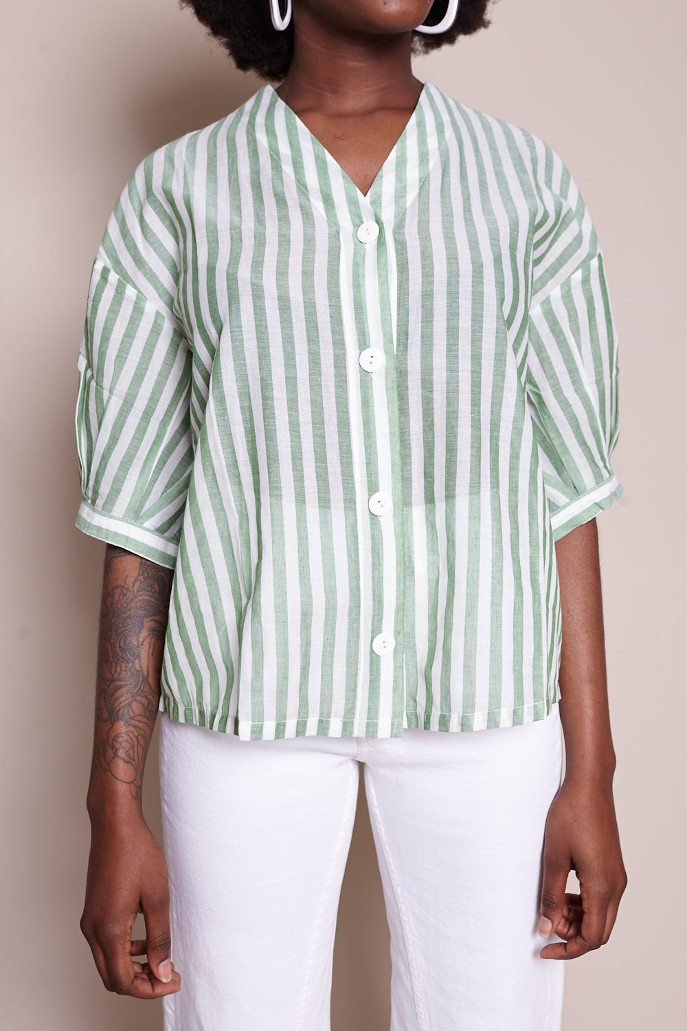Studio Top in Green Stripe