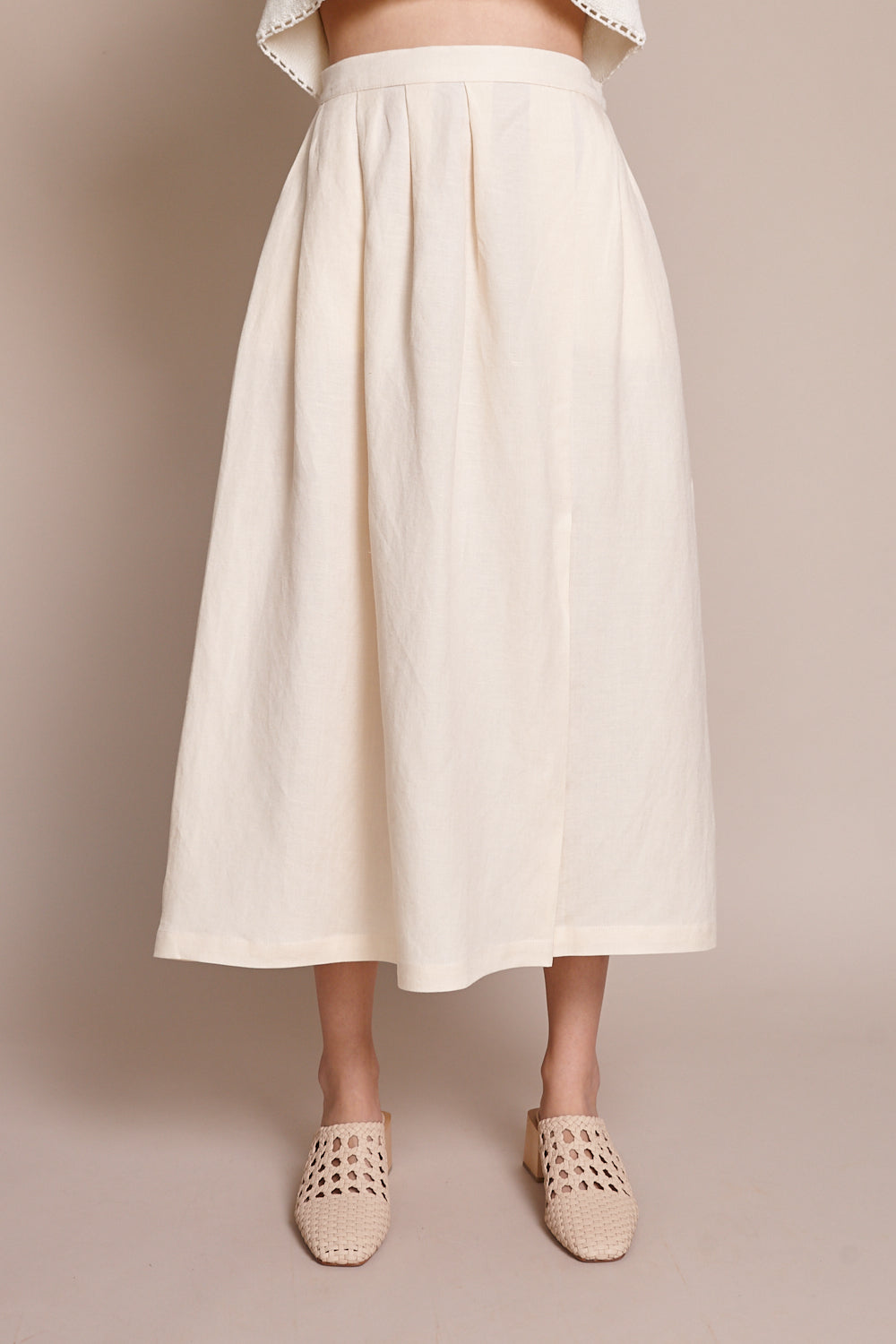 First Rite Pleated Skirt in Bone - Vert & Vogue