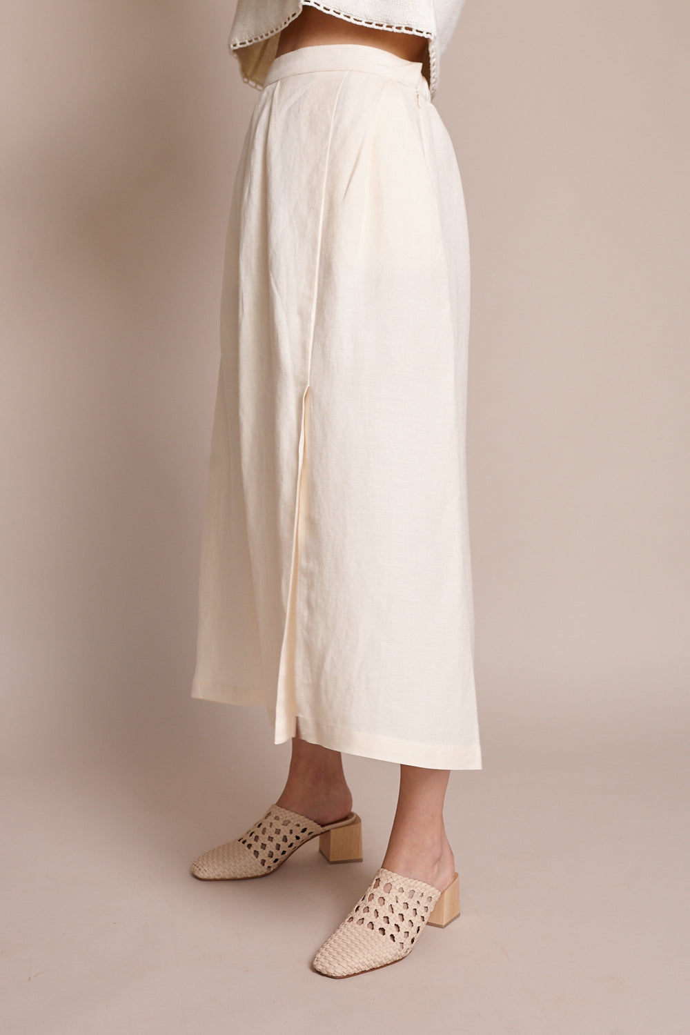 Pleated Skirt in Bone