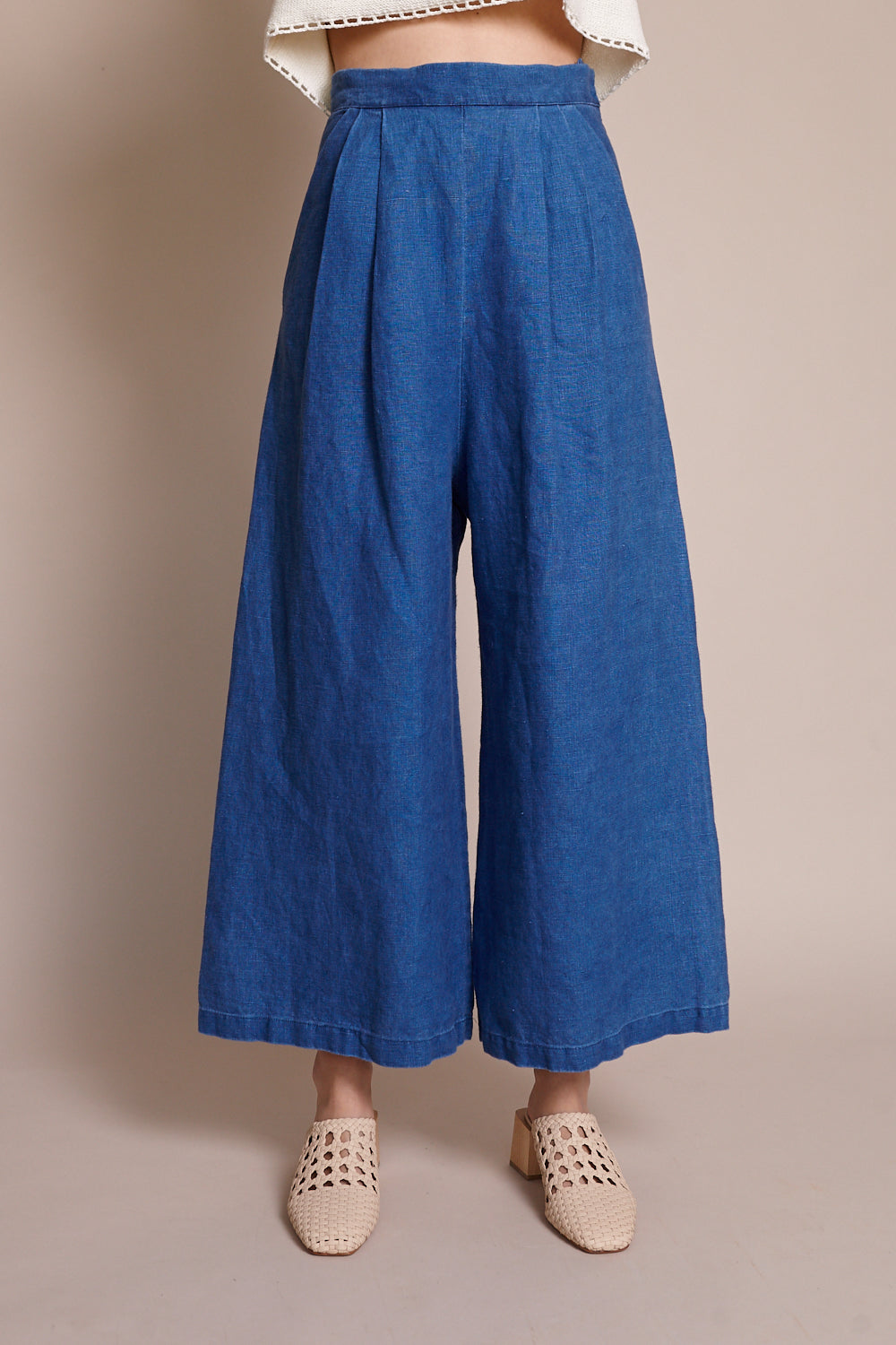 Crop Culotte in Indigo
