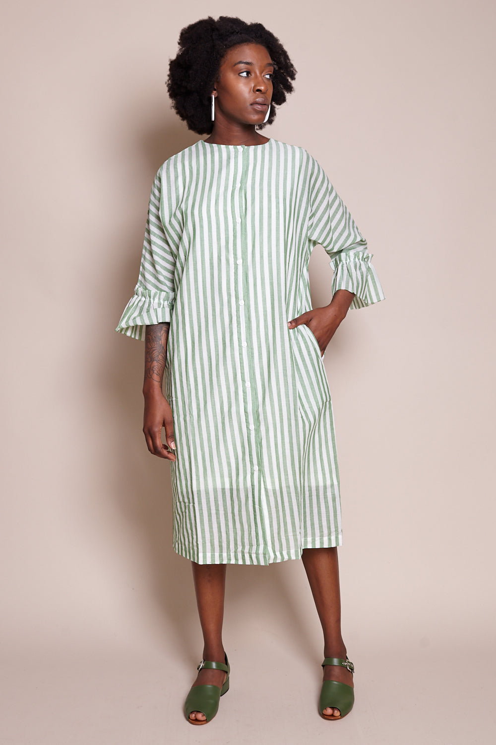 Writing Dress in Green Stripe