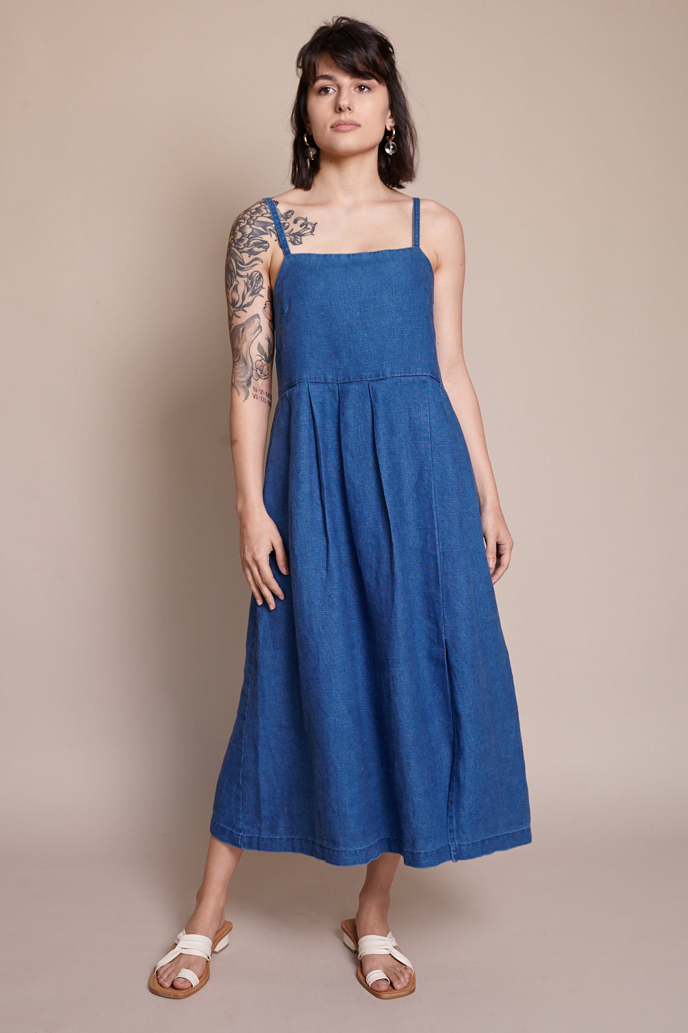 Pleated Dress in Indigo