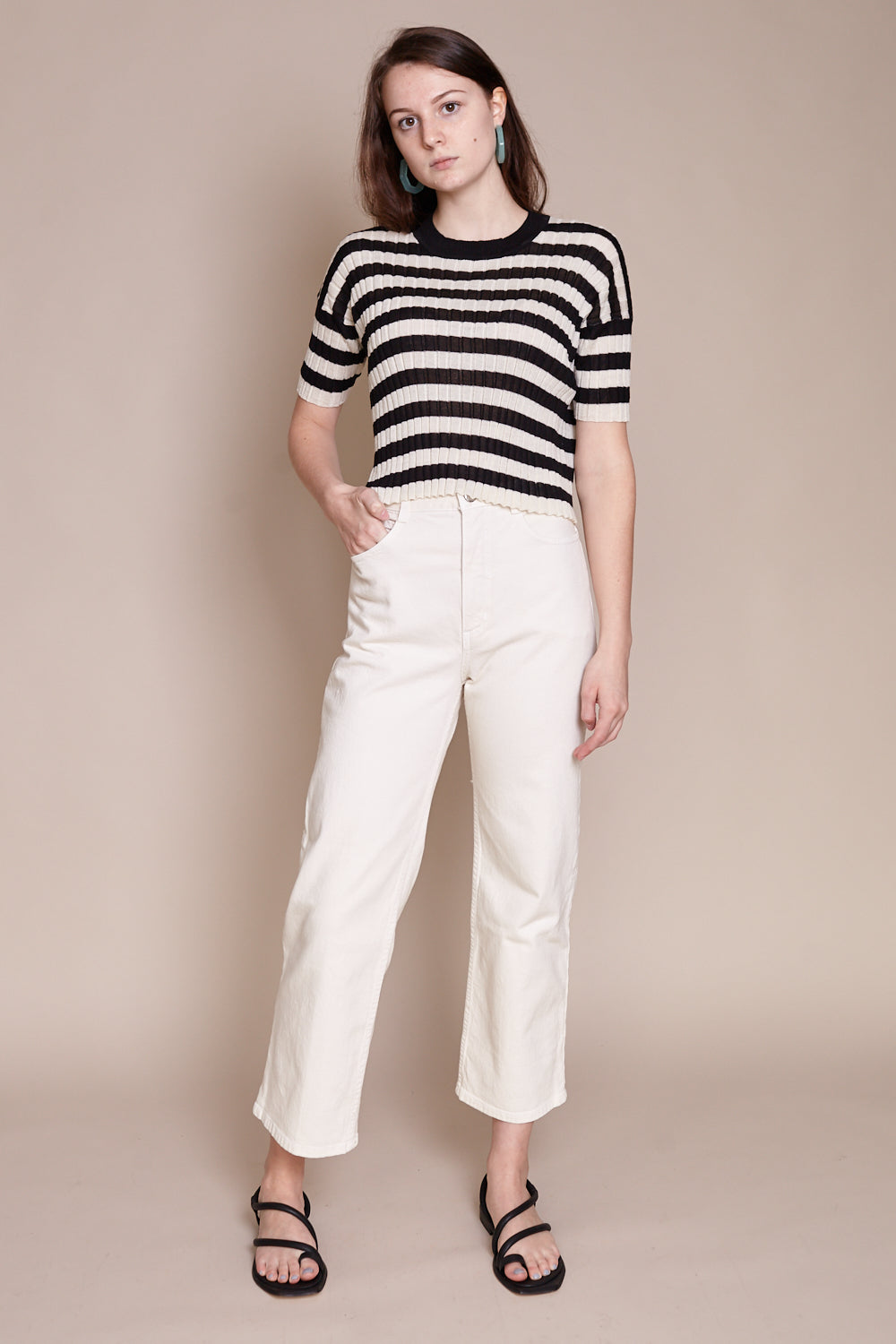 River Top in Ecru/Black Stripe