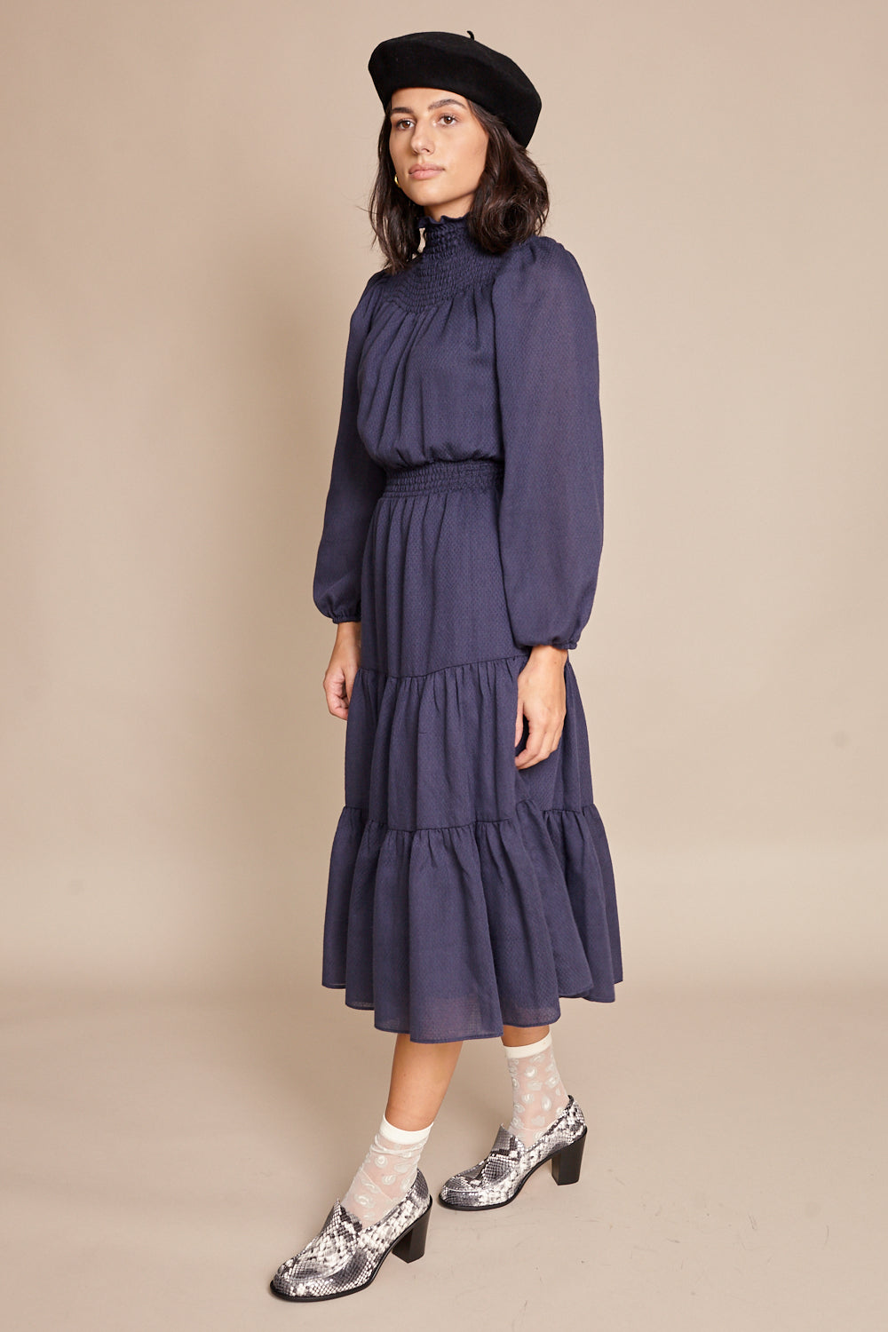 Warm Daisy Dress in Navy - Vert & Vogue