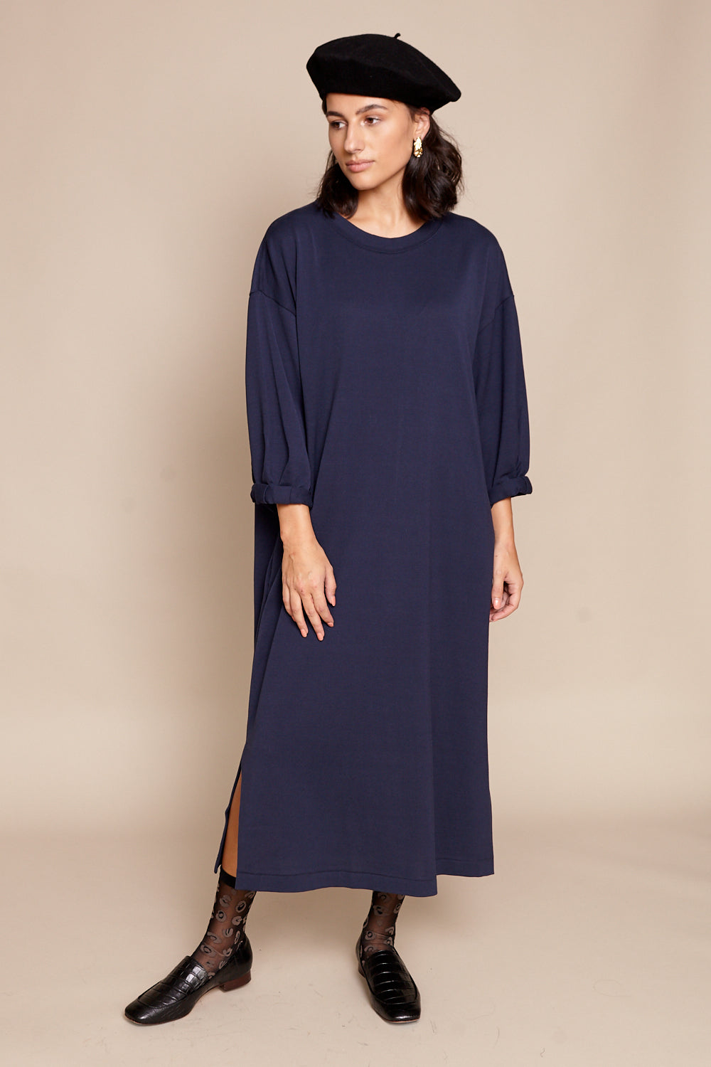 Draped Back Dress in Navy
