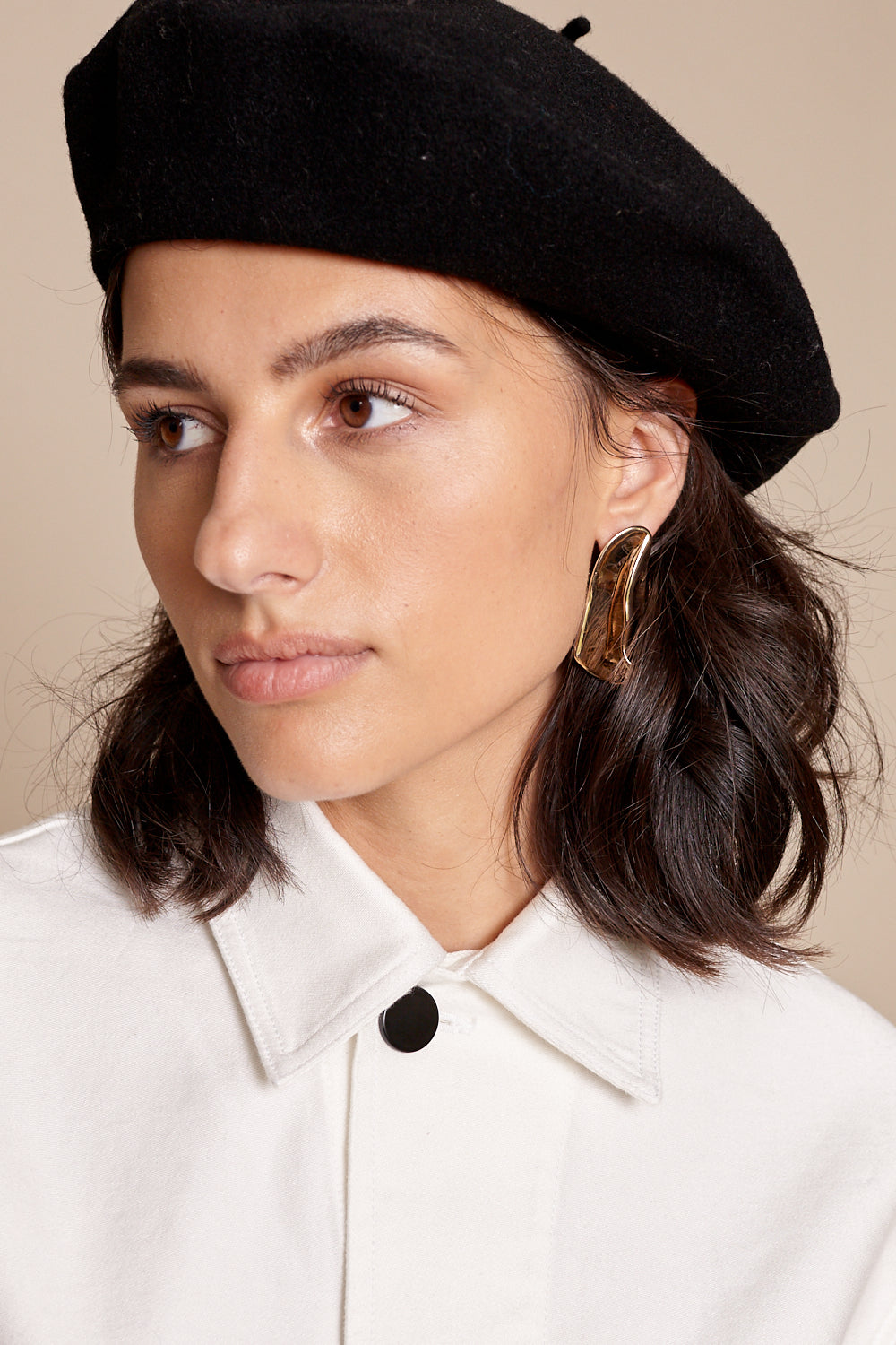 Overlay Stud Earrings in Brass