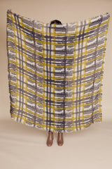 Janel Vintage Check Scarf in Grey Green
