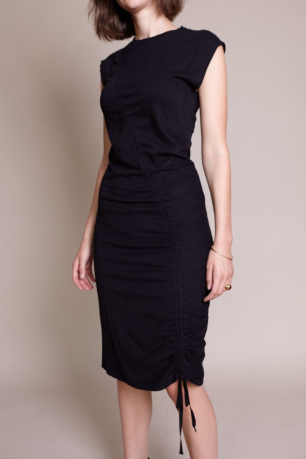 Gathered Tie Midi Dress in Black