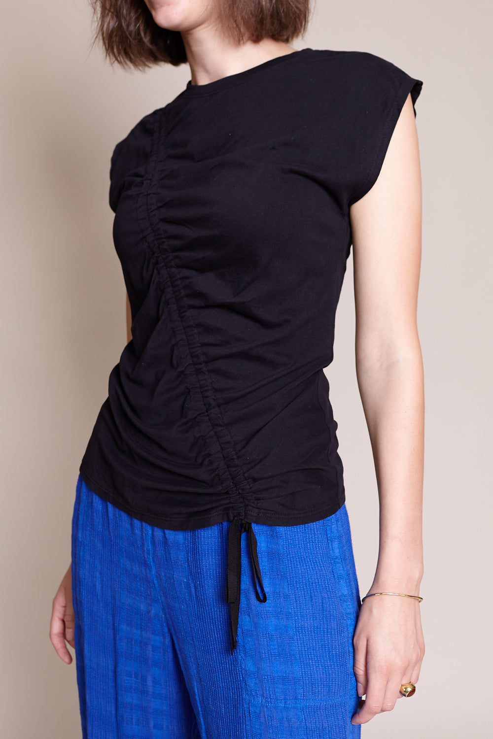 Gathered Tie Tee in Black