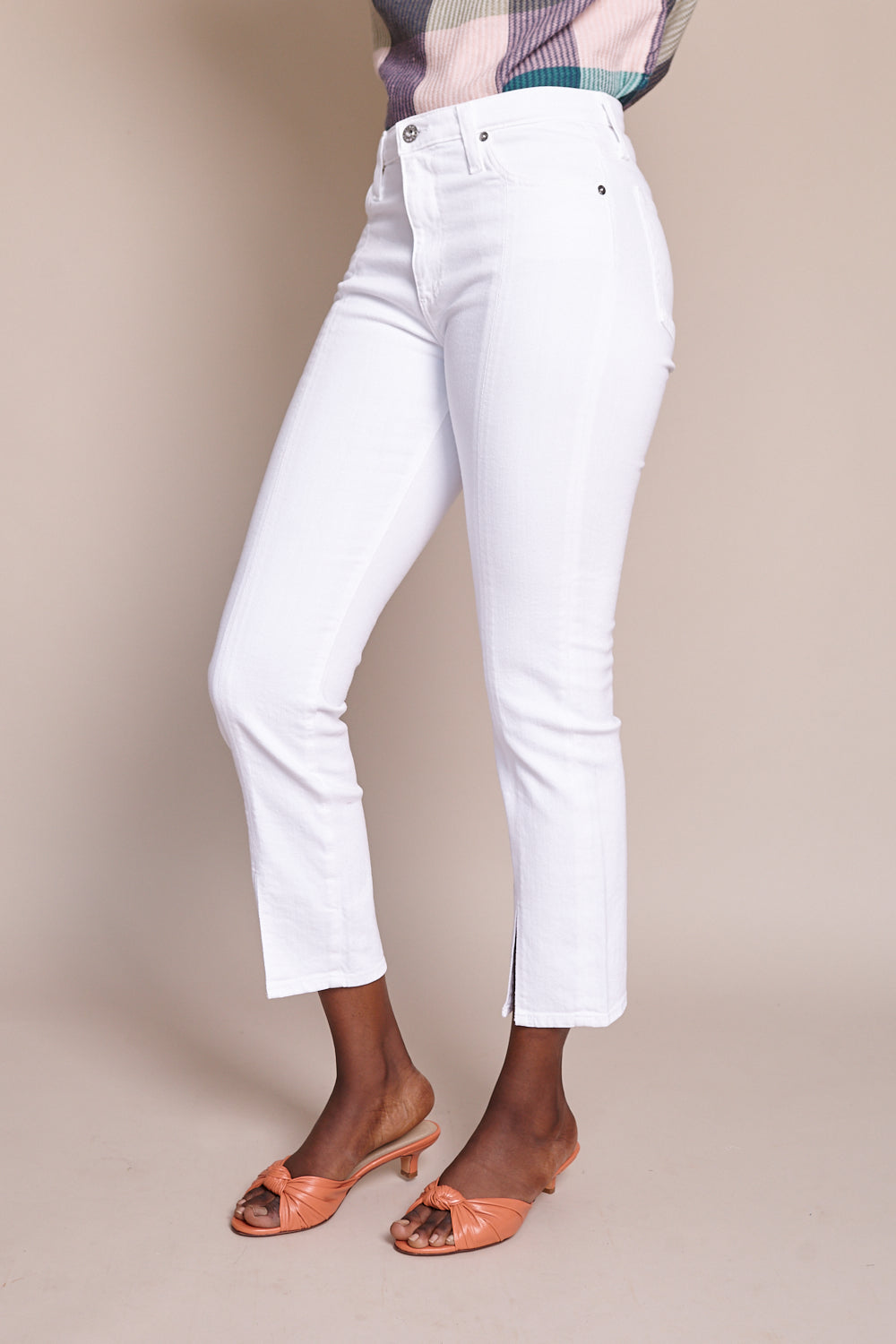 Isabelle Straight Crop Jean With Slit in 1 Year Tonal White