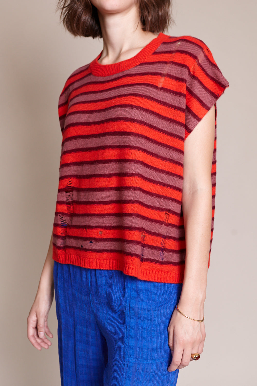 Square Sweater Top in Tomato Stripe