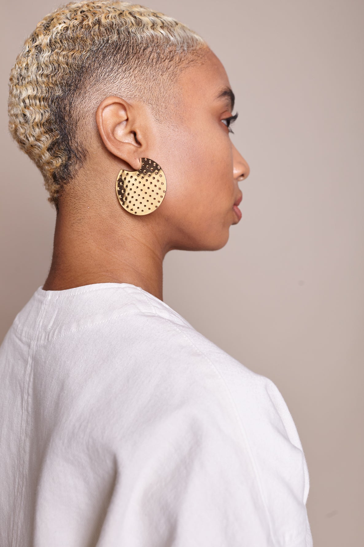 Perforated Hoop Earrings in Gold