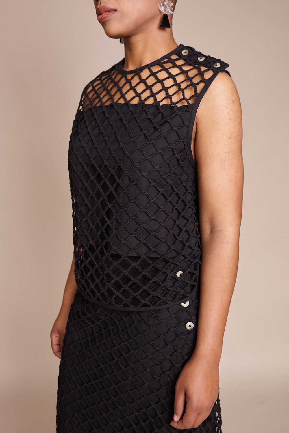 Beacon Macrame Top in Black