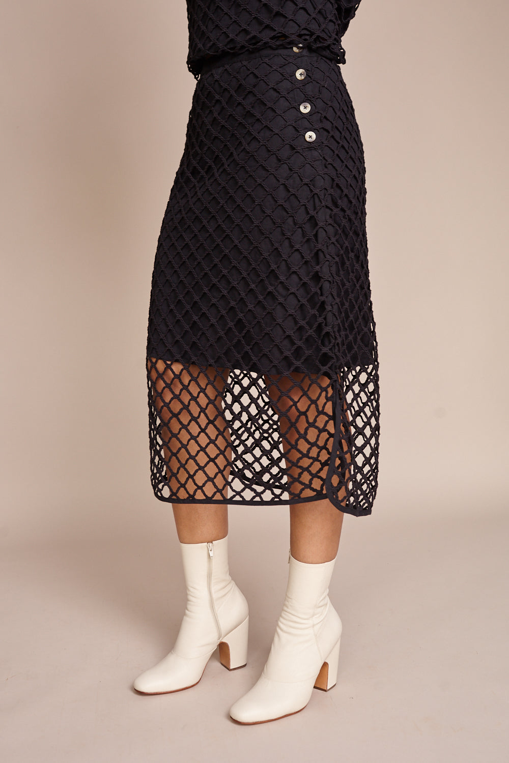 No.6 Carla Macrame Skirt in Black - Vert & Vogue