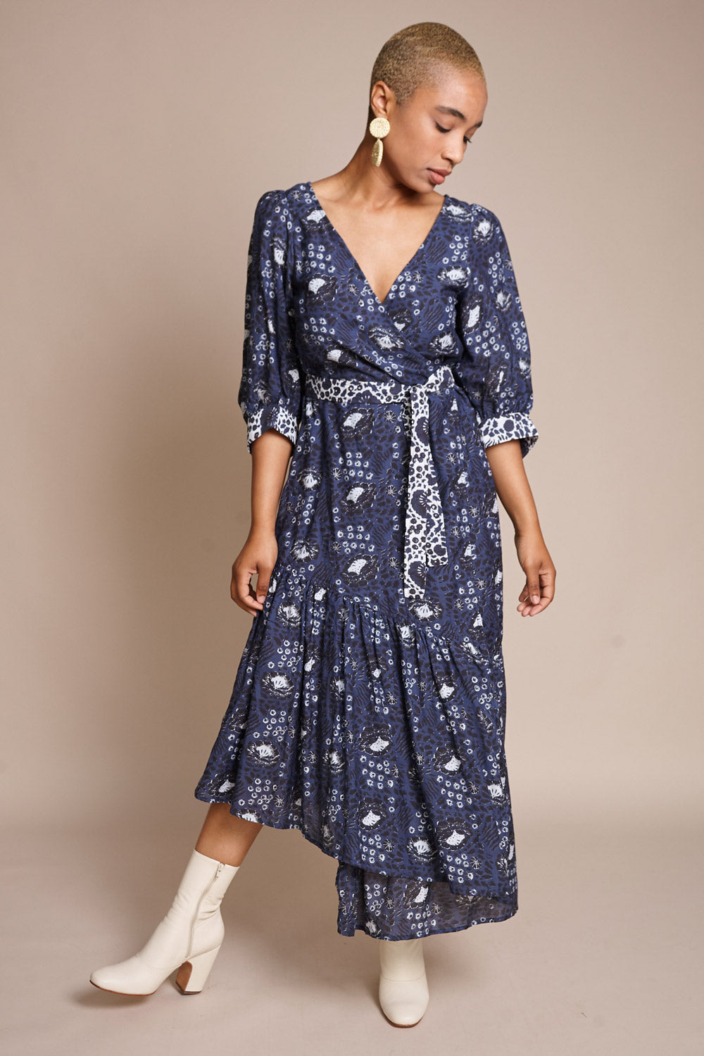 Bougainvillea Wrap Dress in Navy Sombras Floral