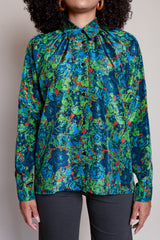 Pleats blouse in J print MADE IN GERMANY of nat fiber (silk) by ANNTIAN, o/s