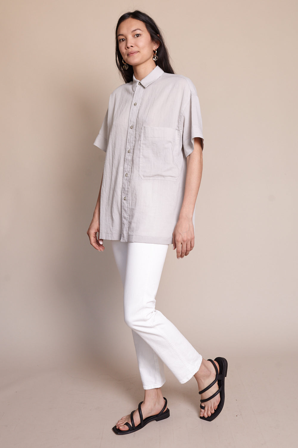 Short Sleeve Button Up in Ash