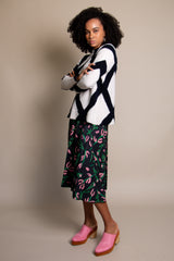 Sabia Skirt in Black and Pink Floral