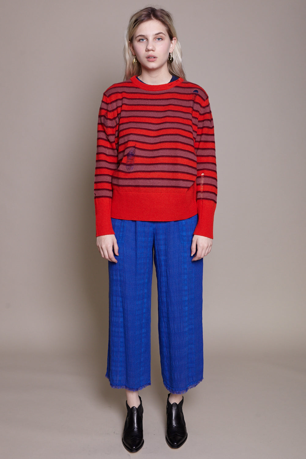 Raquel Allegra Crew Sweater in Tomato Stripe - Vert & Vogue