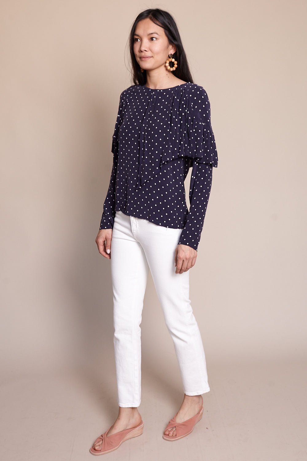 Rooney Blouse in Navy Dot