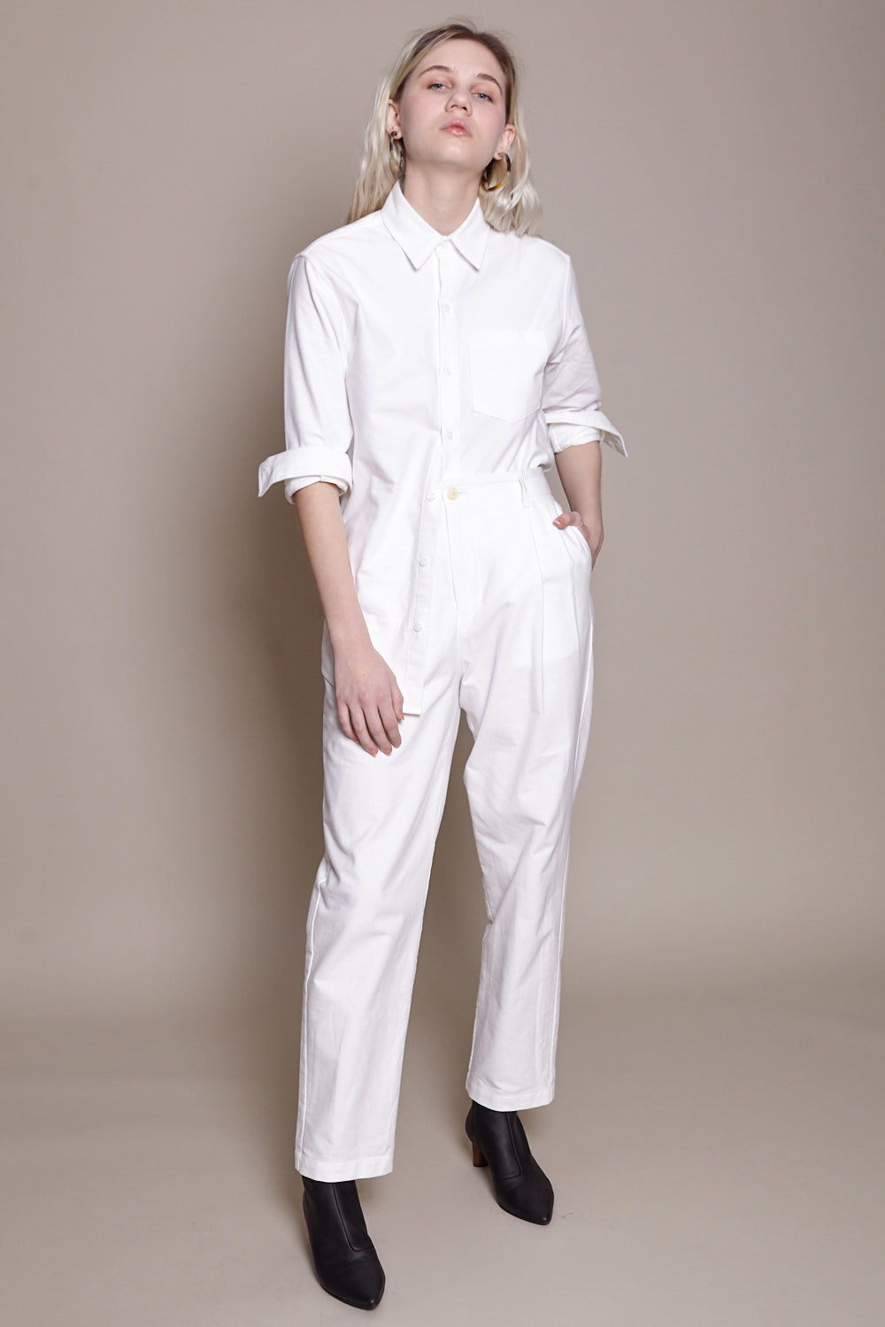 Pleated Pant in White Flannel