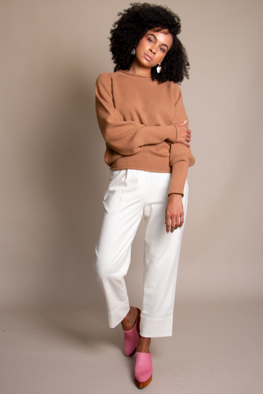 Sayaka Davis Balloon Sleeve Sweater in Camel - Vert & Vogue