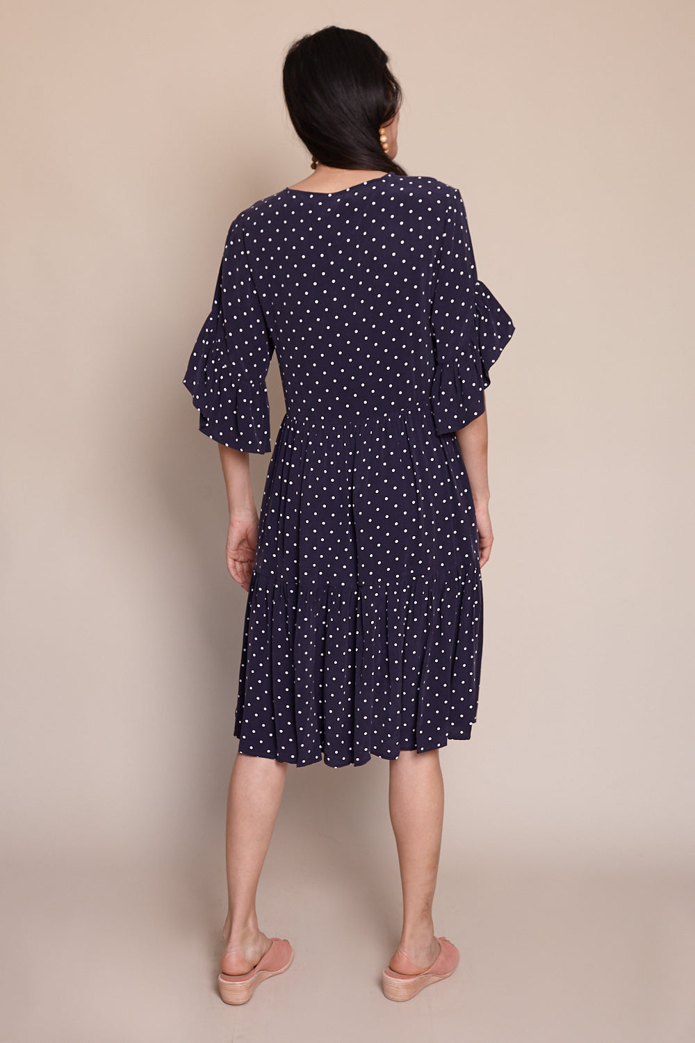 Gayle Dress in Navy Dot