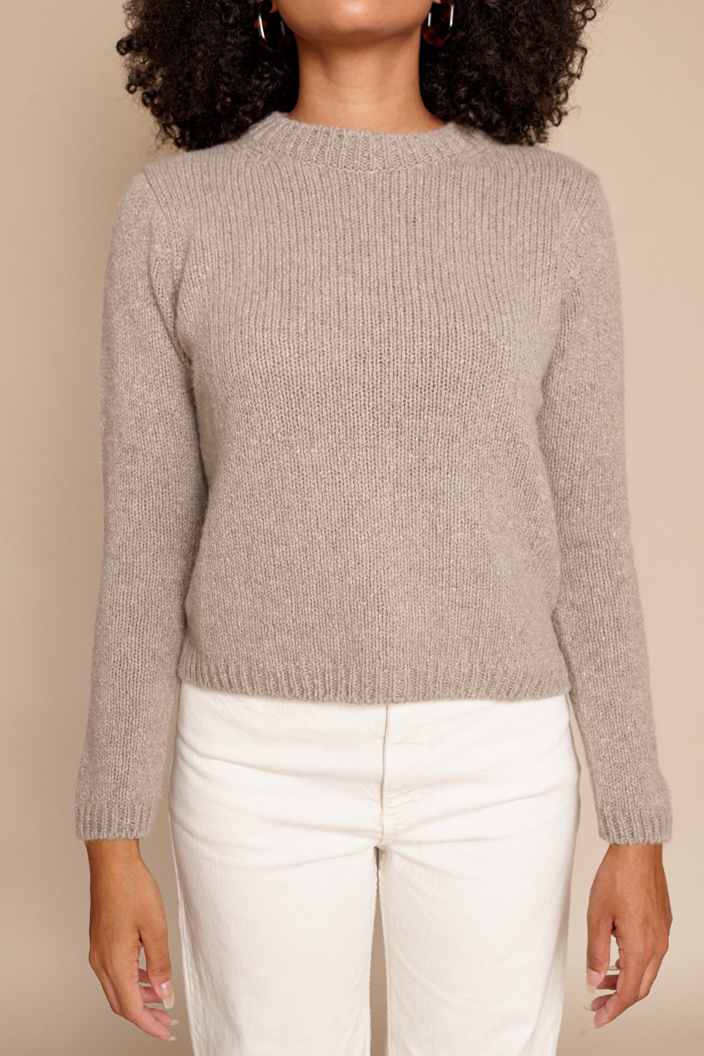 Cashmere Sable Tweed Pullover in Mocha