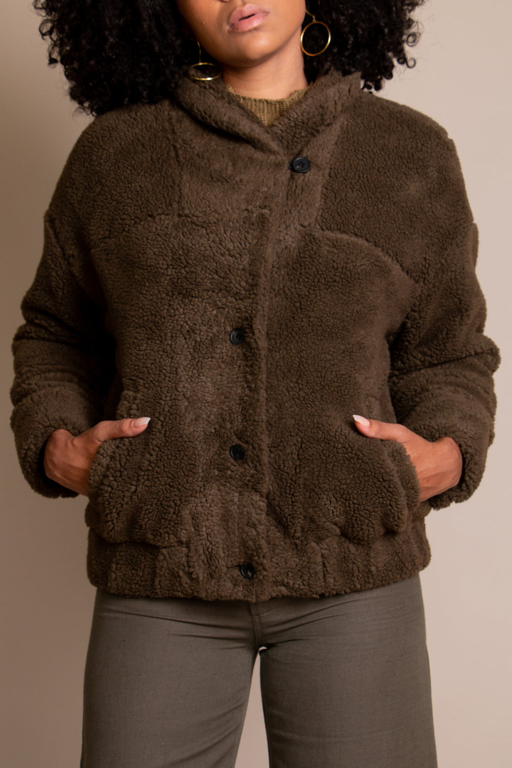 Campania Faux Fur Bomber in Moss