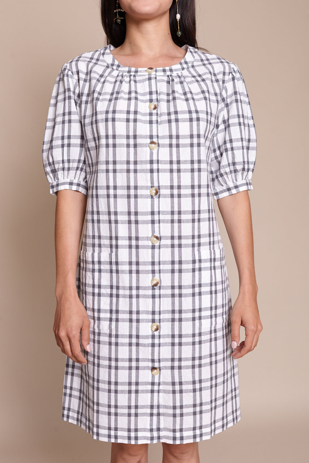 Steven Alan Puff Sleeve Shirt Dress in Grey - Vert & Vogue