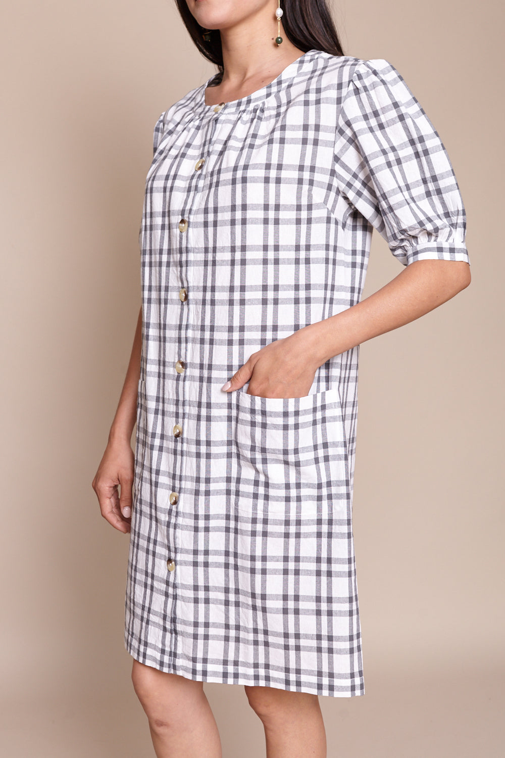 Puff Sleeve Shirt Dress in Grey