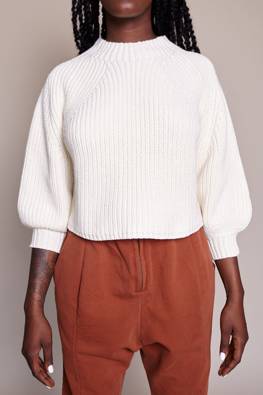 Merel Funnel Neck Sweater in Cream