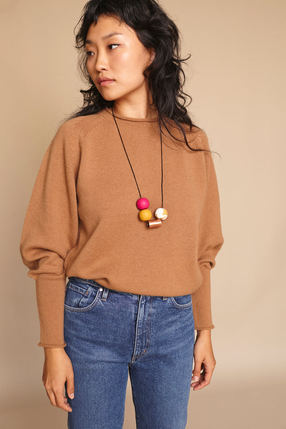 The Andy Necklace in Mustard Fuchsia
