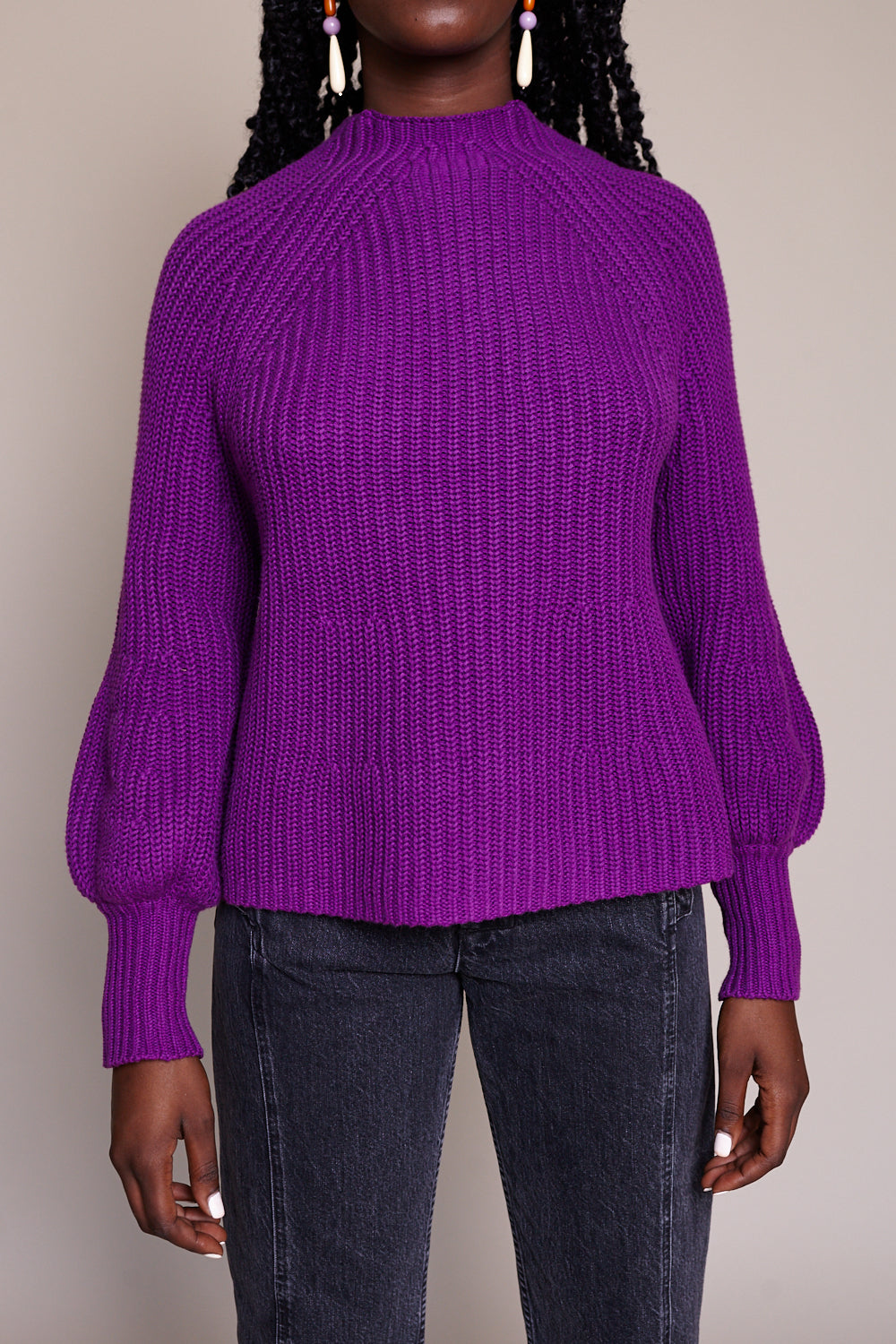 Sequoia Mock Neck Sweater in Plum