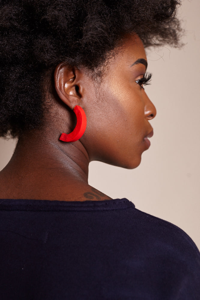 Large Crescent Earrings in Red