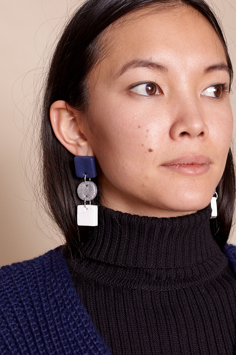 Jade Earrings in Navy Silver