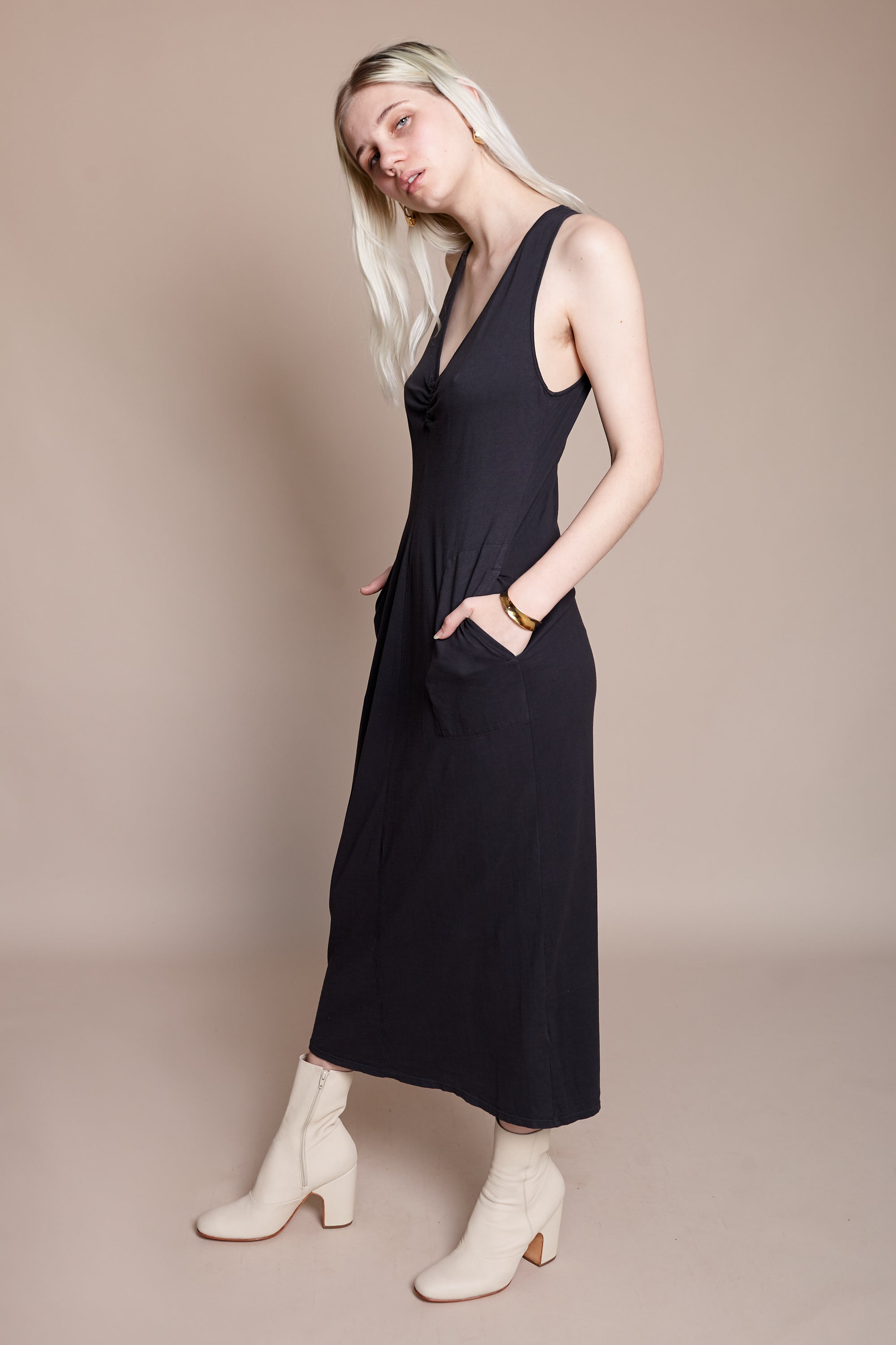Raquel Allegra Cinch Tank Midi Dress in Vintage Black - Vert & Vogue