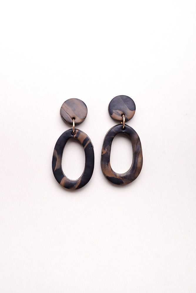 Jemma Earrings in Black Brown Swirl