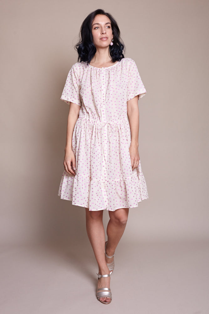 Uma Dress in Magenta Clipped Dot
